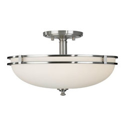 Feiss - Kellenberg Semi-Flushmount by Feiss - An updated look for a classic mid-century design, the Feiss Kellenberg Semi-Flushmount features White Opal etched glass framed in an elegant Brushed Steel metal. Relaxed yet elegant for spaces casual as well as formal. Complement with the Kellenberg Flushmount. Feiss Lighting boasts an award-winning team of industrial, graphic and interior designers and engineers that guarantee only the finest materials are used for their products.