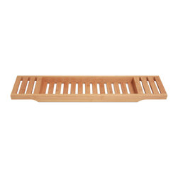 Bamboo Bliss Bath Caddy - Made from one hundred percent eco-friendly bamboo, this chic and simplistic bath caddy provides style and convenience. The Bamboo Bliss Bath Caddy has plenty of room for that glass of wine, paperback, and your phone. Match with a bamboo bath mat for a chic and modern bathroom.