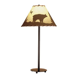 Meyda Tiffany - Bear in The Woods Painted Table Lamp - Requires one 60 watt medium type bulb. Rustic lodge animals southwest style. Pines and bear, silhouetted on parchment paper shades. Hand painted shades wrapped in rawhide. Mahogany bronze color. Shade: 15 in. Dia. x 10 in. H. Overall: 15 in. Dia. x 29 in. H (37 lbs.). Care Instructions