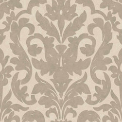 Dalarni Damask Pattern Wallpaper, Taupe, Double Roll - With its stylish damask pattern outlined with thin metallic lines, Dalarni creates an elegant look for any room.
