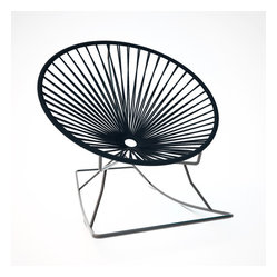 Innit Rocker, Black Weave On Black Frame - Metal and vinyl come together seamlessly to form this comfy rocking chair made for indoor or outdoor use. The hoop shape creates a supportive place to rest, and the metal base keeps you rocking for added relaxation. It's available in multiple colors to match your every decor need or whim.