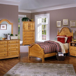 Vaughan Bassett - 5 Pc Youth Panel Bedroom Set in Pine Finish ( - Choose Bed Size: FullIncludes double slotted panel bed, commode, vanity chest, double dresser and vertical mirror. Pine finish. Assembly required. Commode:. 2 Drawers. 1 Open shelf. 28 in. W x 16 in. D x 29 in. H. Vanity chest:. 4 Drawers. 2 Doors. 1 Adjustable shelf. 32 in. W x 23 in. D x 60 in. H. TV opening: 28 in. W x 20 in. H. Double dresser:. 6 Drawers. 52 in. W x 18 in. D x 36 in. H. Vertical mirror: 35 in. L x 2 in. W x 40 in. H. Panel bed:. Twin Size: (double slotted). Includes panel headboard, panel footboard and wood rails with 3 1-inch slats. Headboard and footboard have double slots for height adjustments. Optional trundle unit with face panel. Panel headboard: 41 in. L x 2 in. W x 58 in. H. Panel footboard: 43 in. L x 2.5 in. W x 29 in. H. Full Size: (double slotted). Includes panel headboard, panel footboard and wood rails with 3 1-inch slats. Headboard and footboard have double slots for height adjustments. Optional trundle unit with face panel. Panel headboard: 56.75 in. L x 2 in. W x 62 in. H. Panel footboard: 58.5 in. L x 2.5 in. W x 29 in. H. Wood rails: 76 L x 6 in. W x 1 in. H