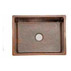 "Premier-Copper-Products - 25"" Copper Single Drop-in or Undermounted Sink - KSDB25199 Premier Copper Products Premier Copper 25 Inch Hammered Copper Kitchen Single Basin Drop-in or Undermounted Sink"