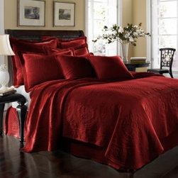 Historic Charleston Collection - King Charles Matelasse Coverlet in Scarlet - Steeped in Historic Charleston's rich, classic style and decorative arts culture, the King Charles 100% cotton matelasse bedding collection offers the ultimate blend of European, Caribbean, and Asian influences.