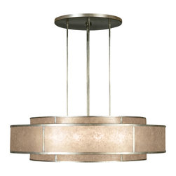 Fine Art Lamps - Singapore Moderne Silver Pendant, 600140-2ST - Concentric steel rings are finished in patinated bronze or muted silver and fitted with panels of warm translucent mica, for a sleekly sophisticated look that recalls the Art Moderne era of the 1930s and '40s. With a dozen light bulbs, this piece is as hard-working as it is pretty. Picture it singly or in pairs lighting up an entry hall, dining table or kitchen island.