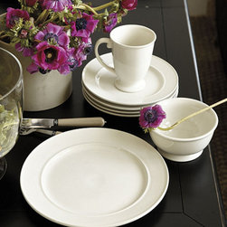 Ballard Designs - Cambria 16-Piece Dinnerware Set - 16-Piece Set includes 4 each of Dinner Plates, Salad/Dessert Plates, Bowls & Mugs. Versatile. Simple, enduring dinnerware that can go from everyday to evening entertaining. The collection is crafted from durable stoneware for a charming artisanal look. Mugs and Bowls have footed bases. Cream finish is microwave and dishwasher safe. Pewter finish is dishwasher safe only.Cambria Dinnerware features: . .