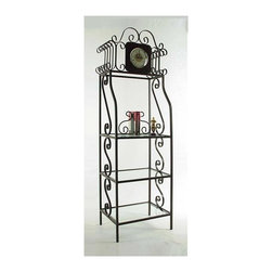 Grace Collection - Grandfather Clock Bakers Rack (Gun Metal) - Finish: Gun MetalQuartz movement clock. Three tempered safety glass 18 in. deep shelves. Made from wrought iron. Made in USA. Space between clock and first shelf: 23.5 in.. Spacing between shelves: 14 in.. Distance between floor and bottom shelf: 6 in.. Distance from floor to middle shelf: 22 in.. Distance from floor to upper middle shelf: 36 in.. Inside: 22.5 in. W x 18 in. D. Overall: 24 in. W x 18 in. D x 78 in. H (113 lbs.)Affords additional display space for decorative accessories or other small items. The detailed scroll work adds a nice flair to this functional rack.