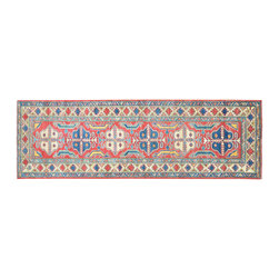 1800-Get-A-Rug - Tribal Design Kazak Runner Hand Knotted Rug Sh11815 - About Tribal & Geometric