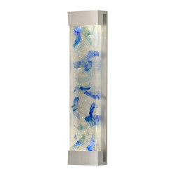 Fine Art Lamps - Crystal Bakehouse Cobalt & Aqua Crystal Sconce, 811150-22ST - Add a colorful glow to your contemporary bedroom, hallway or bathroom with this large-sized sconce. The wall-mounted fixture houses a hand-crafted polished block of cobalt and aqua crystal pieces.