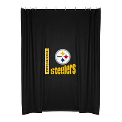 Sports Coverage - NFL Pittsburgh Steelers Football Locker Room Shower Curtain - Features: