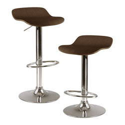 "Winsomewood - Kallie Set Of 2 Air Lift Adjustable Stool, Natural Wood Veneer Top And Metal Bas - Adjustable Seat Height from 20.70""- 30.80"""