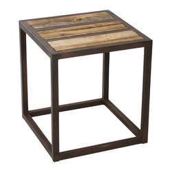 Kathy Kuo Home - Lisbeth Urban Rustic Reclaimed Elm End Table - A stylish combination of environmentalist and minimalist is evident  in the Lizbeth end tables.  Whether alone or in a pair, in a downtown loft or outdoor patio, the clean lines and conscientious materials make it guilt-free and gorgeous.