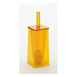 Gedy - Trendy Yellow Toilet Brush Holder - Contemporary, free standing green toilet brush holder. Stylish toilet brush holder made out of thermoplastic resins. Toilet brush holder includes bristle brush. From Gedy's Seventy Collection. Made in Italy. Freestanding toilet brush holder. Yellow thermoplastic resins. Includes bristle brush. From the Gedy Seventy Collection.