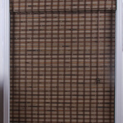 None - Guinea Deep Bamboo 54-inch Long Roman Shade - This red bamboo roman shade adds elegance to any window treatment with an attractive plaid pattern. The New Guinea bamboo shade is woven carefully to filter light and made from real bamboo and other eco-friendly,sustainable materials.
