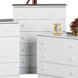 "Prepac - 5 Drawer Chest - The Casual Bedroom Collections' chests of drawers, dressers and nightstands provide value packed, affordable, well-made and well-priced storage for the practical minded consumer. Low prices don't mean we cut corners on quality. The drawers run very smoothly on nylon glides with built-in safety stops and can be easily removed for cleaning or moving. With basic designs combined with durable (5/8'' thick) engineered wood components, quality hardware and solid design are the trademarks of the Casual Bedroom Collection. Ideal for any bedroom, this 5- drawer chest comes in three finishes to match individual tastes and d cor. Sides, top, drawer fronts and kickers are made from 5/8'' thick laminated composite board. The drawer components are a High Density Fiberboard (MDF) and slide smoothly on nylon glides with built-in safety stops. Features: -Five drawers.-Smooth running nylon drawer glides with safety drawer stops.-Easy lift-out drawers for cleaning & moving.-Quality hardware included.-Durable 5/8'' composite board, screw, dowel & cam lock construction.-Precision engineered for quick & easy home assembly.-Distressed: No.-Collection: Casual Bedroom.-Country of Manufacture: Canada.-Frame Material: Composite Woods.-Solid Wood Construction: No.-Powder Coated Finish: No.-Gloss Finish: No.-Non Toxic: Yes.-Scratch Resistant: No.-Storage Function: Clothing.-Drawers Included: Yes -Number of Drawers: 5.-Drawer Interior Finish: Unfinished.-Drawer Glide Material: Plastic.-Soft Close or Self Close Drawer Glides: No.-Safety Stop: Yes.-Ball Bearing Glides: No.-Drawer Dividers: No.-Felt Lined Drawers: No.-Drawer Handle Design: Knobs..-Exterior Shelves: No.-Clothing Hooks Included: No.-Clothing Rod Included: No.-Cabinets Included: No.-Hidden Storage: No.-Interchangeable Panels: No.-Mirror Included: No.-Hutch Included: No.-Finished Back: No.-Swatch Available: No.-Commercial Use: Yes.-Recycled Content: No.-Eco-Friendly: Yes.-Product Care: Wipe clean with damp cloth.Specifications: -FSC Certified: No.-EPP Compliant: No.-CPSIA or CPSC Compliant: No.-CARB Compliant: Yes.-JPMA Certified: No.-ASTM Certified: No.-ISTA 3A Certified: Yes.-PEFC Certified: No.-General Conformity Certificate: No.-Green Guard Certified: No.Dimensions: -Overall Product Weight: 68 lbs.-Overall Height - Top to Bottom: 37.5"".-Overall Width - Side to Side: 30"".-Overall Depth - Front to Back: 15"".-Drawer: -Drawer Interior Height - Top to Bottom: 4"".-Drawer Interior Width - Side to Side: 26"".-Drawer Interior Depth - Front to Back: 12.5""..Assembly: -Assembly Required: Yes.-Tools Needed: Hammer & Screwdrivers.-Additional Parts Required: No.Warranty: -Product Warranty: 5 Year Parts Warranty. About the Manufacturer: About Prepac: Founded in 1979, Prepac Manufacturing is a state-of-the-art manufacturer of home furnishings and storage products with its main manufacturing factory located in the heart of the forest-rich province of British Columbia, Canada. Prepac is now one of the largest producers of ready to assemble furniture in Canada, with full-service representation throughout North America. To ensure our customers receive outstanding design and quality at competitive prices, Prepac's design, engineering, production, testing and packaging are all done in-house."