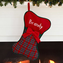 Personalized Plaid Stocking, Dog - Man's best friend needs a stocking too! I love this one's bone shape. I'd fill it with favorite treats.