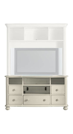 """Stanley Furniture - Coastal Living Cottage-Console - Old meets new in this lovingly designed console. Curved front drawer panels with gently-rubbed corners give a rich patina to ready-made room decor. Lower drawers store CDs, DVDs and the occasional seashell collection. Upper shelves are open to house additional speakers or memorabilia. Accommodates up to a 58"""" widescreen TV, should you be so lucky. Open shelving underneath gives ready access to additional electronic equipment."""