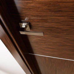Astra Modern Interior Door - The Astra comes in a natural Italian wenge wood veneer in both vertical and horizontal direction decorated with 2 silver strips. More Information at (866) 55-DOORS (3667)