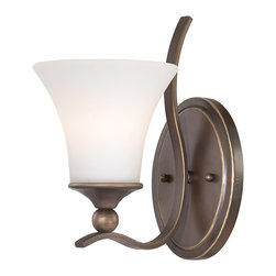 Quoizel - Quoizel SPH8701PN Sophia 1 Light Wall Sconces in Palladian Bronze - Long Description: Bring elegance and beauty to any room in your home with the Sophia collection. Gently sweeping arms are enhanced by the opal etched glass in a soft fluted shape. Make a smart and stylish statement in your home with Sophia.