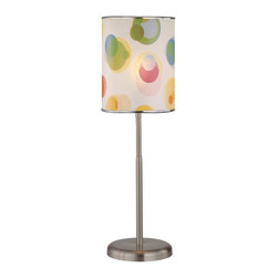 Lite Source - Lite Source Levendig Kids Table Lamp XSL-27212 - From the Levendig Collection, this Lite Source table lamp features a printed vinyl shade with metal trim that compliments the bold color combination. This transitional table lamp is ideal for children's rooms, playrooms, dorms and more thanks to its eye-catching colors and clean Polished Steel metal body.