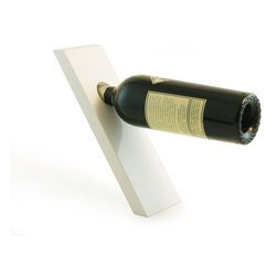 The Art of Beverage - Wine Plank Bottle Holder, White - The Wine Plank can hold and balance a standard-sized wine bottle in mid-air, with its slim body and slanted foot, leaning and looking like it is about to tip forward. No string involved, no complicated trick. This all is made possible thanks to how the center of gravity works.