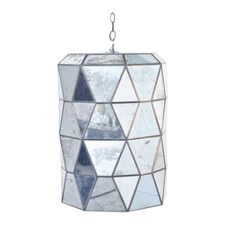 Worlds Away - Worlds Away - Moderna Pendant, Mirror - Large faceted mirror lantern with 3-light candle cluster for 40w bulbs. Comes with 3' antique brass chain and canopy.