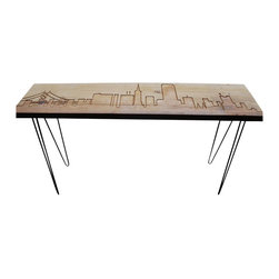 "Urban Wood Goods - San Francisco Reclaimed Wood Console Table - Standard , 48"" x 11.5"" - San Francisco reclaimed wood console table with the beautiful San Francisco skyline etched into the top and supported with mid-century hairpin legs. Each San Francisco skyline table is made of a single slab of salvaged old growth lumber that has been salvaged from a de-constructed home, barn or building in the midwestern United States. Custom woodwork for Urban Design interiors by Urban Wood Goods."