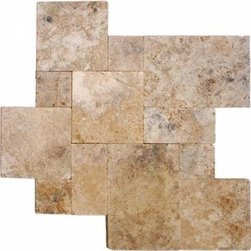 Tilesbay.com - Sample of 16 Sqft/Kit Honed Unfilled Tumbled Walnut Rustico Travertine Tile - Walnut Rustico 16 Sqft/Kit x 10 Honed/ Unfilled / Tumbled is a stylish travertine paver delivering warm brown colors. This paver is popular in all styles of homes and will enhance your outdoor living space with delight and beauty. Available finishes include tumbled or chiseled edge and the pavers are recommended for interior and exterior use. Please keep in mind that a typical size of sample is 4x4 or 6x6.