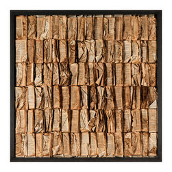 "Kathy Kuo Home - Cooking the Books Rustic Lodge Aged Books Grande Wall Art - Now you're cooking! Book smart and bold, this custom-made wall art makes an artistic statement wherever you hang it. The books have been ""cooked,"" dipped and dried in the sun for a modern piece that's a true conversation starter."