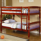 Coaster - Coral Traditional Twin Over Twin Bunk Bed - Mattresses not included. Twin over twin bunk bed. Made from sturdy pine wood. Warm medium cherry finish. Attached ladder for easy access. Requires two 9 in. thick twin mattresses. Turned posts and clean lines. 79 in. L x 42.5 in. W x 59 in. H. Warranty. Bunk Bed Warning. Please read before purchase.. NOTE: ivgStores DOES NOT offer assembly on loft beds or bunk bedsThis lovely twin bunk bed will be a nice addition to the youth bedroom in your home. Create a warm and inviting space for your child with this wonderful twin over twin bunk.