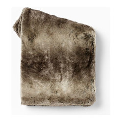 Ombré Faux Fur Throw, Mocha