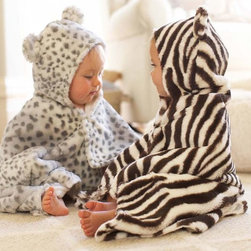 Animal Print Nursery Bath Wraps - This is a super cozy way to make bath time even more fun. I love the snow leopard print.