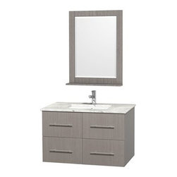 """Wyndham Collection(R) - Centra 36"""" Single Bathroom Vanity for Undermount Sinks by Wyndham Collection - G - The Wyndham Collection is an entirely unique and innovative bath line. Sure to inspire imitators, the original Wyndham Collection sets new standards for design and construction.Simplicity and elegance combine in the perfect lines of the Centra vanity by the Wyndham Collection®. If cutting-edge contemporary design is your style then the Centra vanity is for you - modern, chic and built to last a lifetime. Available with green glass, pure white man-made stone, ivory marble or white carrera marble counters, and featuring soft close door hinges and drawer glides, you'll never hear a noisy door again! The Centra is available with porcelain sinks and matching mirrors. Meticulously finished with brushed chrome hardware, the attention to detail on this beautiful vanity is second to none.Centra Bathroom Vanities are available here in multiple sizes and finishes and are now available with optional CaesarStone® counters!FeaturesConstructed of environmentally friendly, zero emissions solid Oak hardwood, engineered to prevent warping and last a lifetime12-stage wood preparation, sanding, painting and finishing processHighly water-resistant low V.O.C. sealed finishUnique and striking contemporary designModern Wall-Mount DesignMinimal assembly requiredDeep Doweled DrawersFully-extending under-mount soft-close drawer slidesConcealed soft-close door hingesCounter options include Green Glass, Pure White Man-Made Stone, Ivory Marble, White Carrera Marble, and CaesarStone (many colors available)Backsplash not availableAvailable with Porcelain undermount sink(s) Pre-drilled for asingle hole faucetFaucet(s) not includedMetal exterior hardware with brushed chrome finishTwo (2) functional doorsTwo (2) functional drawersMatching mirror(s) availablePlenty of storage spacePlenty of counter spaceVariations in the shading and grain of our natural stone products enhance the individuality of"""