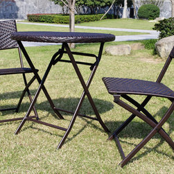 Bellini - Andover 3-piece Bistro Set - Hand woven in a diamond design with rich multicolor brown color polyethylene wicker wrapped twice around a concealed powder coated frame. The PE wicker is cool to the touch and retains its original look for years.