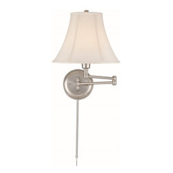 Lite Source - Lite Source Charleston Swing Arm Wall Sconce X-SP1057C - Drawn straight from a time of simplicity and elegance, this swing arm wall sconce is certain to draw attention with its old world charm. The delicate white shade creates a soft glow that is reminiscent of nights of beautiful candlelight dinners and days of old. For a simple reading light or to illuminate a darkened corner this elegant light is crafted to true perfection.