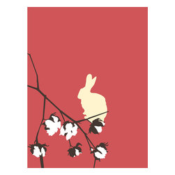 Grow House Grow - Cottontail Wallpaper, Tapioca, Rollx2 - Sprigs of cotton and playful bunnies combine in a whimsical wallpaper design. Hand-printed and made in the USA, this wallpaper suits both your soft side and your mischievous streak.
