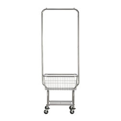 Laundry Butler - Laundromat-style rolling cart with generous chromed basked and hanging bar makes it easy to sort, move, fold and put away laundry. Lower shelf stows detergent, bleach and other laundry supplies.
