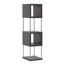 "Baxton Studio - Baxton Studio Murillo Dark Brown Modern Display Shelf Tower - Things are looking up: elegantly display your decor on.  Designed for optimum visual impact. This four-shelf display tower is imported from Malaysia, where it is made with hollow engineered wood, dark brown(Espresso) faux wood grain paper veneer, and steel supports, allowing for all angles of your marvelous mementos to be admired. Wipe the surfaces with a dry cloth for easy, effortless cleaning. Assembly is required. 13.25""W x 15.375""D x 52.75""H, shelf(Top): 10.5""W x 15.375""D x 10.5""H, shelf (bottom): 11.125""W x 15.375""D x 13.2""H"
