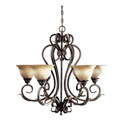 World Imports - Olympus Tradition 6-Light Chandelier, Crackled Bronze - Crackled bronze & silver finish