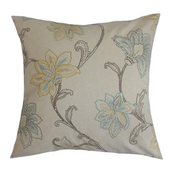 """The Pillow Collection - Eimear Floral Pillow Pumice 20"""" x 20"""" - Inviting and charming, this contemporary pillow provides a cozy ambiance to your space. This accent pillow is designed with classic floral accents in shades of green, blue and yellow. Brighten up your living room, bedroom or guestroom with this decor pillow. Incorporate solids and other patterns with this square pillow to make a standout decor style. This 20"""" pillow uses 100% plush cotton fabric. Hidden zipper closure for easy cover removal.  Knife edge finish on all four sides.  Reversible pillow with the same fabric on the back side.  Spot cleaning suggested."""