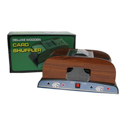 Trademark Global - 1-2 Deck Deluxe Wooden Card Shuffler - Requires 4 AA batteries (not included). Cards not included. Shuffles in seconds. Removable plastic tray for easy unloading. Base measures: 9.5 in. L x 5 .5 in.W x 5.25 in. H. Overall: 9.5 in. L x 5.5 in. W x 4.5 in. H (3.1 lbs.)If you've never mastered the art of shuffling a deck of cards, this battery operated card shuffler can mix one or two decks completely with the push of a button.