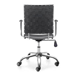 Zuo Modern - Zuo Modern Criss Cross Modern Office Chair - This fun and functional office chair combines a modern and transitional look. The Criss Cross office chair is made with a solid steel chrome frame and base, leatherette straps and seat, and includes an adjustable height feature.