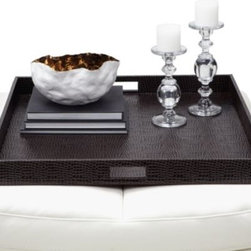 Z Gallerie - Everglades Large Square Tray - Brown - Entertaining guests with sophisticated style and displaying a distinguished decorative setup are both made possible with our Everglades Coffee Tray.  This tray is fashionably functional with a faux leather croc pattern and deep walls with cut out handles.