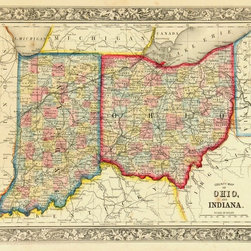 Consignment Original Antique Map of Ohio & Indiana, 1860 - Original antique engraving of Ohio and Indiana from 1860. Over 150 years old. Shows counties, railroads, rivers and towns. Original hand coloring. Ornate decorative border.