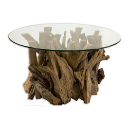 Uttermost - Driftwood Cocktail Table, Teak Wood Accent Table with Glass Top - Unfinished  teak  driftwood  is  sculpted  into  a  beautiful  rustic  table  base  and  capped  with  a  round  clear  glass  tabletop.  This  beautiful,  all  natural  table  will  be  a  favorite  conversation  piece.  No  two  are  alike.  35-inch  diameter.