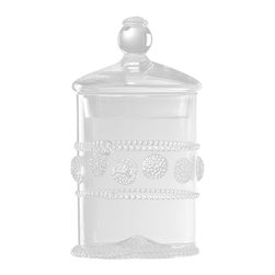Isabella Mini Canister - Make a dainty impression with the Isabella Mini Canister, a clear glass vessel with a matching lid.  Cover it, and you have a bath or kitchen container that displays pretty contents with the sweet addition of a formal berry motif applied to the outside; remove the lid with its spherical knob, and a cylindrical vase awaits a dense, lush seasonal bouquet on a windowsill or small table.