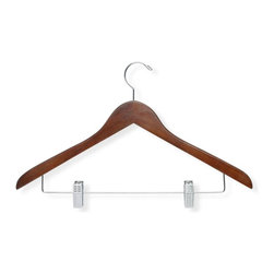 Honey Can Do - 12 Pack Basic Suit Hanger w Clips, Cherry Fin - For suits, pants, skirts. 17.5 in. x 9.75 in.