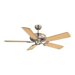 The Pine Harbor Ceiling Fan - Adaptable to a wide range of spaces, this simple ceiling fan flaunts signature Savoy House quality with a stately Satin Nickel finish. Features reversible fan blades for optimal customization! Choose between Chestnut and Maple blade colors. Blades included. Weight: 16. 10 lbsFinish: Satin NickelFan Blade Color: Maple / ChestnutBulbs Included: NoSafety Rating: UL, CULVoltage: 120