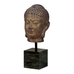 Kathy Kuo Home - Large Bronze Buddha Head Sculpture on Marble Base - Features: