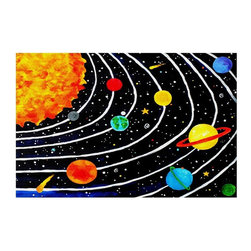 DiaNoche Designs - Solar System IV Area Rug, Small 2 X 3 Ft - Finish off your bedroom or living space with a Woven Area Rug with a Chevron pattern weave from DiaNoche Designs. The last true accent in your home that really ties the room together. Maybe its a subtle rug for your entry way, or an artisti conversation piece in your living area, your decorative floor art will continue to dazzle for many years. MADE IN THE USA!!  Each purchase supports the artist who created the image.  1/4 inch thick. Each rug is machine loomed, washed and pre-shrunk, printed, then hemmed on the edges.   Spot treat with warm water or professionally clean. Dye Sublimation printing adheres the ink to the material for long life and durability.